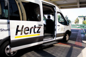 Hertz Car Rental airport shuttle ready to take you to the airport