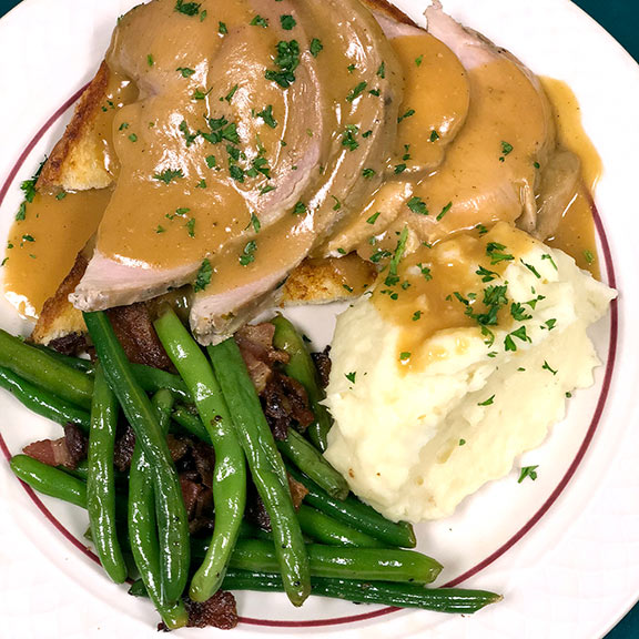 House Roasted Open Faced Turkey Dinner Sandwich